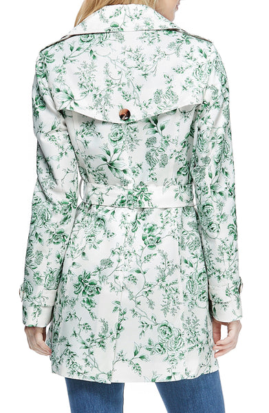 Gal Meets Glam Floral Belted Raincoat - Mint/Multicolor - Sugg. $265.00 *Take an Extra 25% Off*