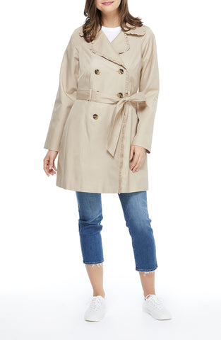Gal Meets Glam Ruffle Trim Belted Double Breasted Raincoat - Tan - Sugg. $250.00
