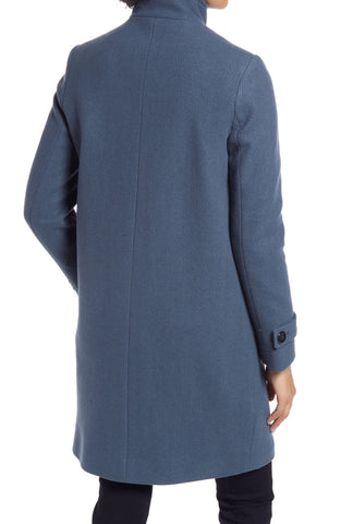 Kenneth Cole Stand Collar Wool Blend Coat - Storm Blue - Sugg. $325.00