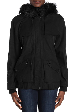 Kensie Faux Fur Trim Wool Blend Bomber Jacket - Black - Sugg. $149.00