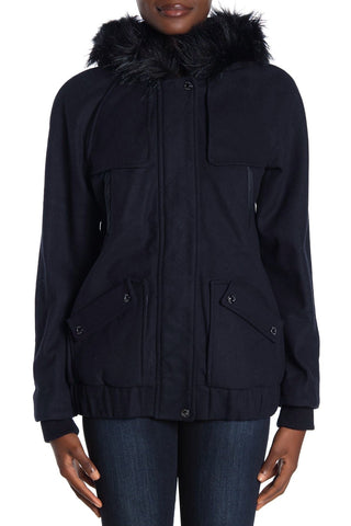 Kensie Faux Fur Trim Wool Blend Bomber Jacket - Navy - Sugg. $149.00