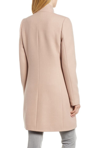 Kensie Wool Blend Twill Ruffle Front Coat - Blush - Sugg. $248.00