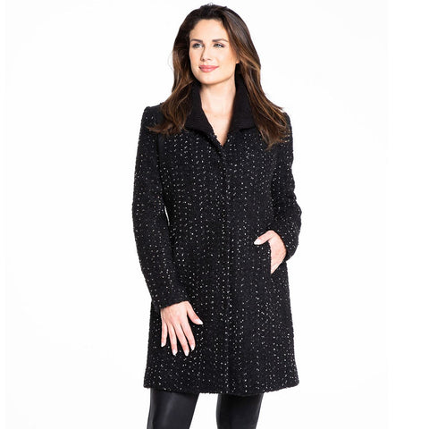 Kensie Speckled Tweed Knit Collar Coat - Black/White - Sugg. $298.00