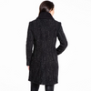 Image of Kensie Speckled Tweed Knit Collar Coat - Black/White - Sugg. $298.00