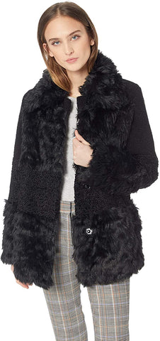 Kensie Faux Fur & Shearling Snap Front Coat - Black - Sugg. $298.00