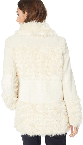 Kensie Faux Fur & Shearling Snap Front Coat - Ivory - Sugg. $298.00