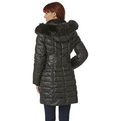 Kensie Faux Fur Trim Hood Puffer Coat - Black - Sugg. $248.00