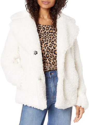 Kensie Reversible Faux Fur Teddy Coat - Ivory - Sugg. $298.00