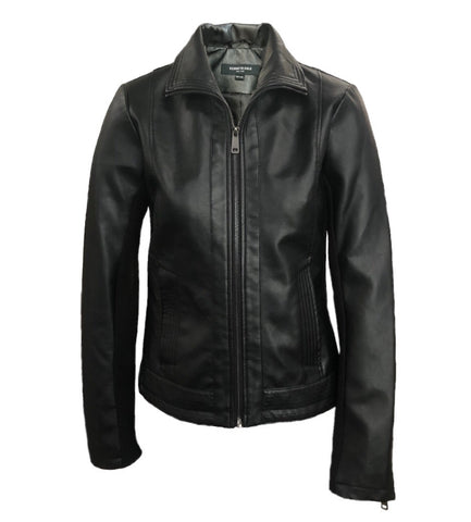 Kenneth Cole New York Faux Leather Moto Jacket - Black - Sugg. $175.00