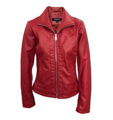 Kenneth Cole New York Faux Leather Moto Jacket - Red - Sugg. $175.00