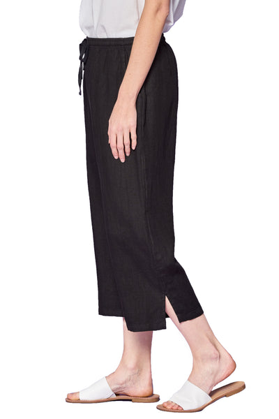 Focus Fashion Pull On Linen Crop Pant - Black