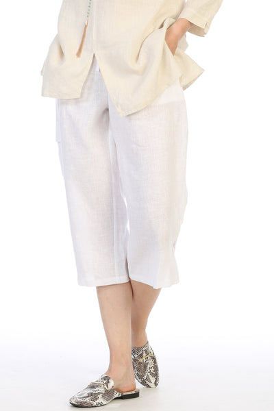 Focus Fashion Pull On Linen Crop Pant - White