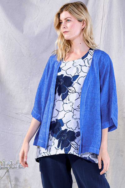 Focus Fashion 3/4 Sleeve Linen Jacket - Royal