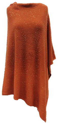 La Fiorentina Embellished Poncho - Dark Orange