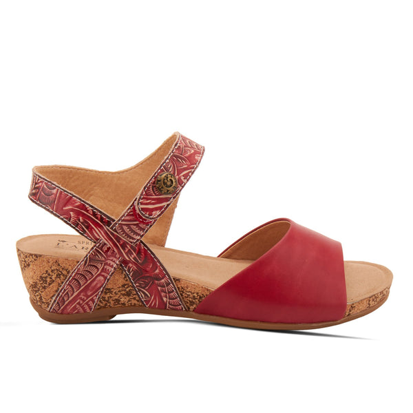 L'Artiste Ceylan Ankle Strap Wedge Sandal - Red
