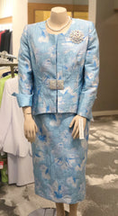 Lily & Taylor Three-Piece Floral Jacquard Suit - Ice Blue