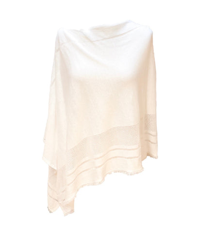 Three-Way Linen Seam Detail Frayed Hem Poncho Topper - White
