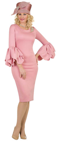 Lily & Taylor Ruffled Petal Bell Sleeve Dress - Mauve