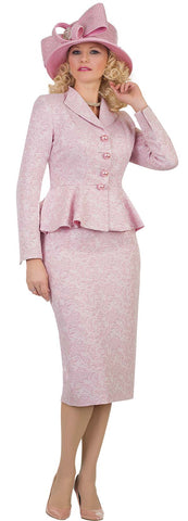 Lily & Taylor Two-Piece Peplum Brocade Suit - Pink