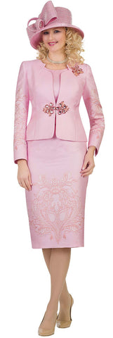Lily & Taylor Three-Piece Embroidery Detail Suit - Pink