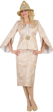 Lily & Taylor Three-Piece Flared Slit Sleeve Brocade Suit - Gold