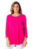 Image of Multiples Solid 3/4 Sleeve Swing Top - Bright Fuschia