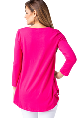Multiples Solid 3/4 Sleeve Swing Top - Bright Fuschia