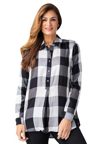 Multiples Pull On Button Down Checkered Blouse - Black/White