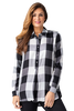 Image of Multiples Pull On Button Down Checkered Blouse - Black/White