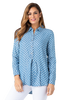 Image of Multiples Pull On Button Down Polka Dot Blouse - Indigo/White