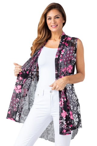 Multiples Sheer Drapey Vest - Black/Pink Multi