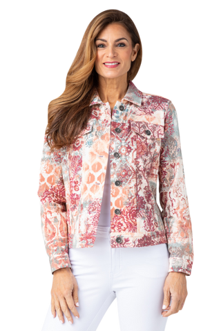 Multiples Jean-Style French Terry Jacket - Multicolor