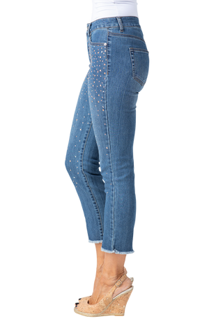 Slimsations by Multiples Embellished Crop Jean - Indigo