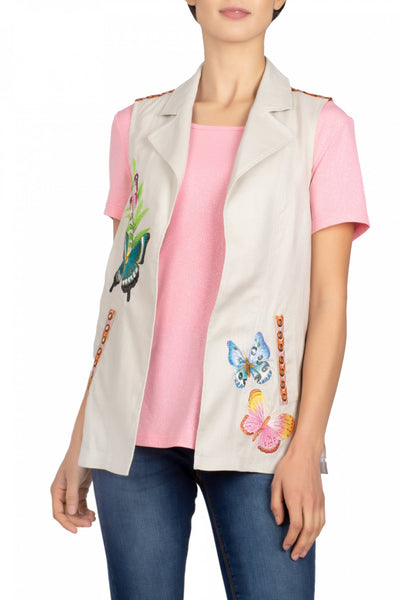 Berek Butterfly Embroidered Linen Vest - Taupe