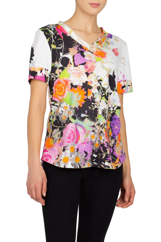 Berek Short Sleeve V-Neck Wild Flowers Tee - Multicolor