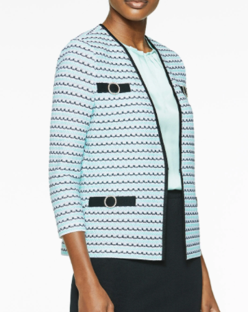 Ming Wang Crystal Ring Accent Knit Jacket - Mint/Black/White