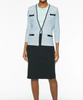 Image of Ming Wang Crystal Ring Accent Knit Jacket - Mint/Black/White