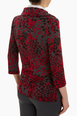 Ming Wang Animal Print Jacket - Firecracker/Black/Granite