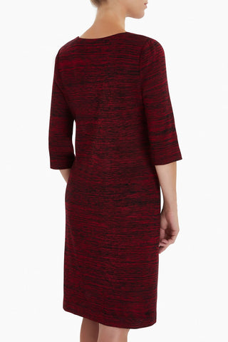 Ming Wang Melange Color-Block Knit Dress - Firecracker/Black