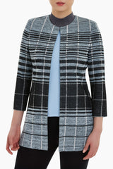 Ming Wang 3/4 Sleeve Plaid Jacket - Misty Blue/Black