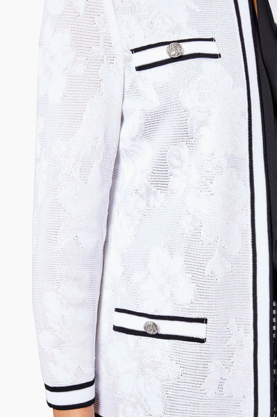 Ming Wang Sheer Subtle Floral Knit Jacket - White/Black