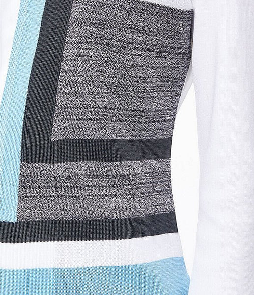 Ming Wang Colorblock Knit Jacket - Soft Blue/Black/White