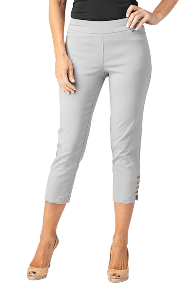 Slimsations by Multiples Crop Pant with Lattice Ankle Detail - Frost Grey