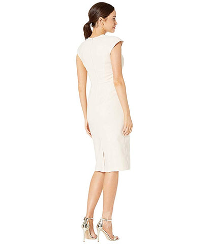 Maggy London Crepe Cap Sleeve Ladder Trim Sheath Dress - Oyster