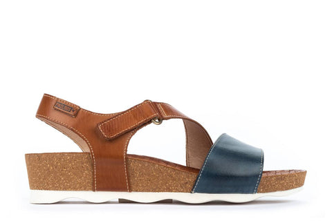 Pikolinos Mahon Low Wedge Leather Adjustable Sandal - Brandy/Sapphire