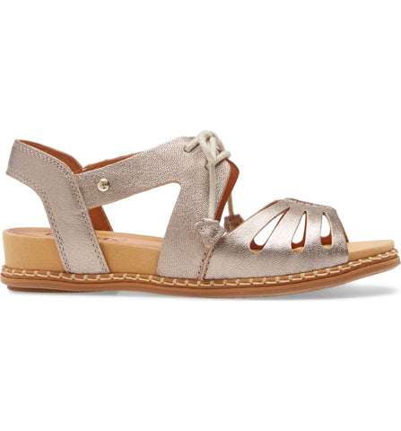 Pikolinos Marazul Cutout Laceup Leather Sandal - Metallic Stone