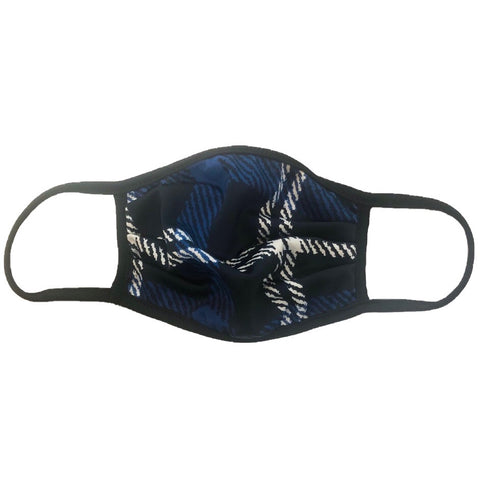 Cloth Fashion Mask Print - Blue/Black Tartan