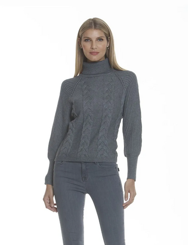 Metric Knits Turtleneck Cable Knit Sweater - Heather Grey