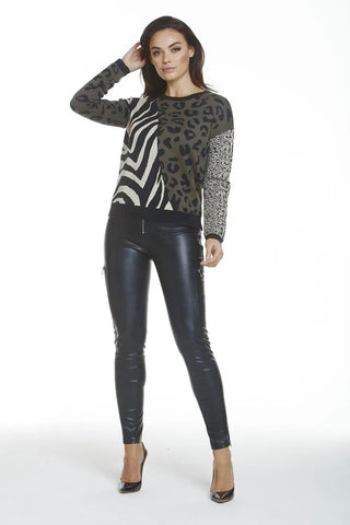 Metric Knits Mixed Animal Print Sweater - Loden/Multicolor