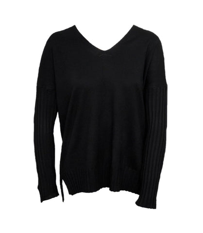 Metric Knits V-Neck Ribbed Dolman Sleeve Sweater - Black